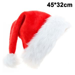 Weihnachtsmütze für Big Verdickte Weihnachtsmütze Plüschkrempe Roter Samtstoff Unisex Weihnachten