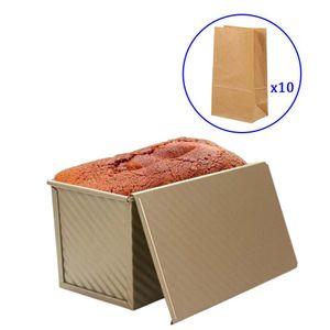 CANDeal 1LB Pullman Gold Brotbackform mit Deckel, zusätzliche 10 Stück Kraft-Brot-Tasche