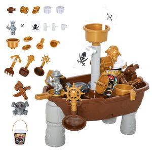 HOMCOM Kinder Sandspielzeug Sandkastentisch mit 26-tlg. Zubehör Spieltisch Strandspielzeug ab 3 Jahren PP Piratenthema 73 x 35 x 70 cm
