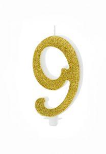 1 XL Geburtstagskerze Tortenkerze 9 Geburtstag ca 10 cm weiß gold