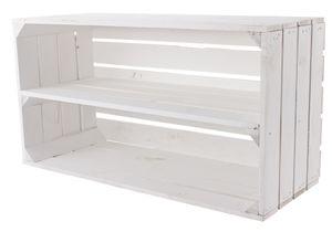 Große weiße Holzkiste mit Mittelbrett 68cm x 40cm x 31cm Obstkisten Weinkiste Regal Holzboxen DIY Weinregal weiss shabby chic Apfelkiste Holzregal