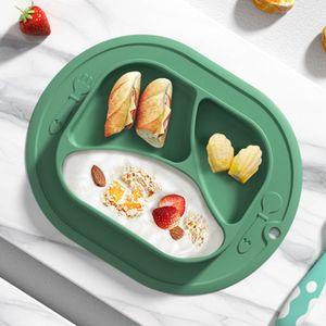 Baby Teller Silikon Rutschfeste Tischset für Kleinkinder Kinder Tischset mit Saugnäpfen BPA-frei Spülmaschinen-und mikrowellengeeignet (Grün)