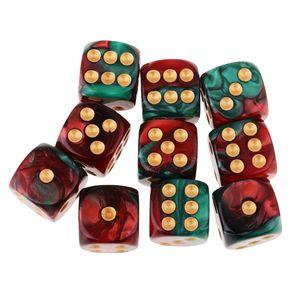 6-seitige Spielwürfel 16mm-Würfel für Brettspiele und Matheunterricht rot + grün Würfel wie beschrieben