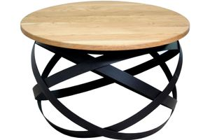 Couchtisch Industrial-Design Wildeiche massiv rund 70x70 cm schwarz RUGILE