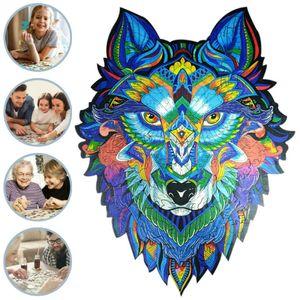 143 Stück Holzpuzzle Steckpuzzles Majestätischer Wolf Puzzle für Erwachsene Kinder Lernspiele Geschenke Spielzeug Muster : A3