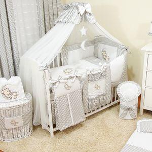 Baby Luxus Kinderbetten  120x60 Holz Gitterbett,Babybett,Kinderbettset Grau Komplett Set inklusive