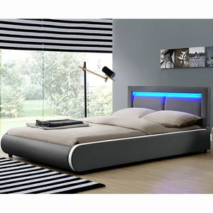 Juskys Polsterbett Murcia 140 x 200 cm – Bett mit LED, Lattenrost, Kopfteil & Kunstleder – Bettgestell gepolstert, gemütlich & modern - dunkel-grau