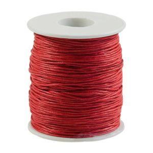 90m gewachste Baumwollschnur 1mm Wachsschnur Schmuckkordel Schnur, Farbwahl, Farbe:rot