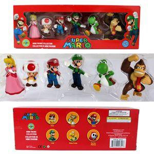 6 Teile/satz Super Mario Bros PVC Action-figur Spielzeug Puppe Mario Luigi Yoshi Mushroom Esel