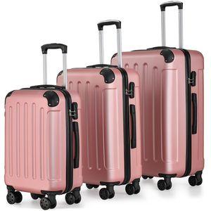 Juskys Hartschalen-Koffer Set Yara 3-teilig – 3 Trolley mit Schloss, Griff und 360° Rollen – Reisekoffer Hartschale leicht rosé