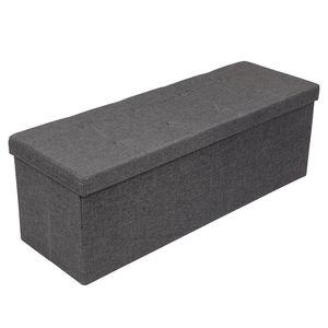 Sitzhocker Sitzbank mit Stauraum faltbar 3-Sitzer belastbar bis 300 kg Stoff - Grau - 110 x 38 x 38 cm - Amoiu