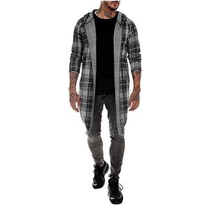 Männer Spleißen Kapuze Solid Trenchcoat Jacke Strickjacke Langarm Outwear Bluse Größe:XXL,Farbe:Grau