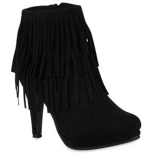 Mytrendshoe Damen Stiefeletten High Heels Leicht Gefütterte Stiletto Boots 78850, Farbe: Schwarz, Größe: 36