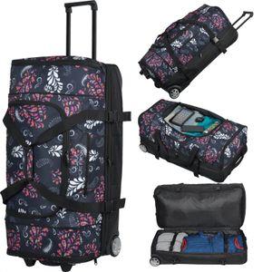 KEANU Reisetrolley Rollen Reisetasche :: XL Trolley Scooter :: 85 Liter Volumen, 2 getrennte Hauptfächer, Wäsche- Schuhfach, Seitentasche, Vordertasche (Paisley Black)
