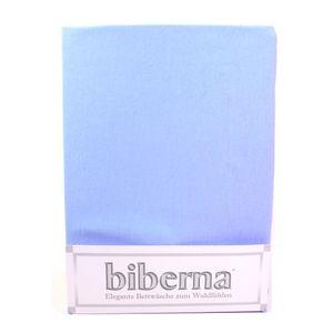 Biberna 02744-221-040 Feinbiber Spannbetttuch Eisblau 90x190 100x200