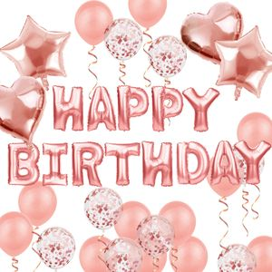 Oblique Unique Geburtstag Party Deko Set - Happy Birthday + Herzen Folien Luftballons Konfetti Ballons roségold