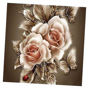 1 Set 5D Diamond Painting Kit (enthalten: Bohrbeutel, Punktbohrer, Stifte, Leinwände, Bohrplatten, Ton (ohne Rahmen) 复古 花 35 x 35 cm Vintage Blume