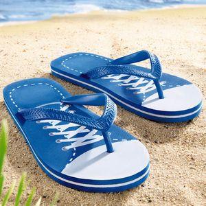 Badeschuhe Neoprenschuhe Gr 28-46 Wasserschuhe Surfschuhe Aquaschuhe Strand, Farbe:Zehentreter - Blau, Größe:EUR 43