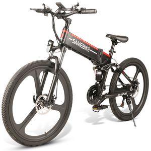 SAMEBIKE LO26 26 Zoll E-bike Elektrofahrrad 21 Geschwindigkeit 10AH 48V 350W Elektrofahrrad MTB Motor Faltbar-Schwarz