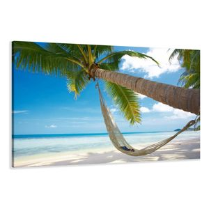 120 x 80 cm Bild auf Leinwand Strand Palme 5039-SCT deutsche Marke und Lager  -  Die Bilder / das Wandbild / der Kunstdruck ist fertig gerahmt