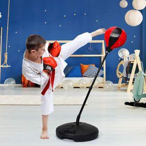 COSTWAY Punchingball freistehend, Kinder Boxset, Boxsack Set hoehenverstellbar, Box Set inkl. Boxhandschuhe und Handpumpe, Standboxsack für Kinder und Jugend
