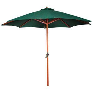 Huicheng Sonnenschirm Strandschirm ∅ 300 cm Grün / Holz / Polyester