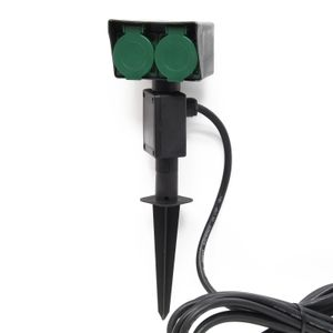 2-fach Gartensteckdose Außensteckdose Doppelsteckdose Outdoor Kunststoff IP44 Erspieß 5m Kabel