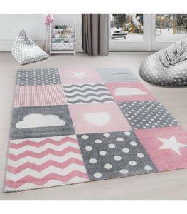Kinderteppich Kurzflor Punkte Wolke Stern Herz Soft Babyzimmerteppich Grau Pink, Grösse:160x230 cm