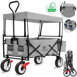 KESSER® Bollerwagen faltbar mit Dach Handwagen Transportkarre Gerätewagen | inkl. 2 Netztaschen und Einer Außentasche | klappbar | Vollgummi-Reifen | bis 100 kg Tragkraft |, Farbe:Grau