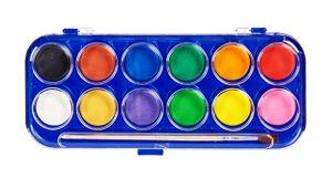 12 Wasserfarben mit Pinsel Set Aquarell Deckfarbkasten Malkasten Farbkasten Farben 36