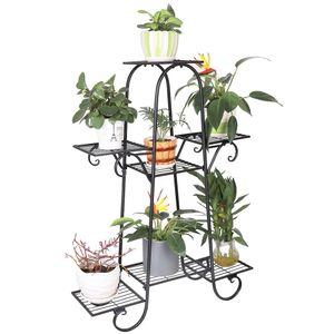 WISFOR Blumenständer Blumentreppe mit 7 Ablagen Blumenregal Pflanzregal Metall, 66 x 22 x 102 cm
