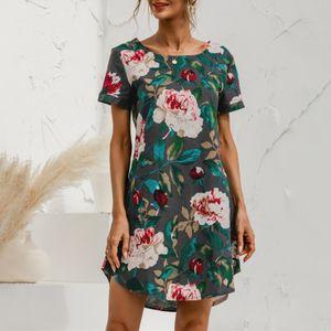 Damen Casual Lose Kurzarm Rundhalsausschnitt Blumengemustertes Kurzes Kleid Größe:XXXXL,Farbe:Grau