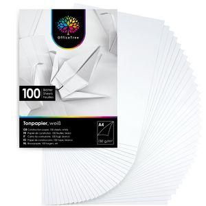 OfficeTree 100 Blatt Bastelpapier weiß - Bastelset Kinder - Tonpapier A4 130g/m² zum Basteln Gestalten