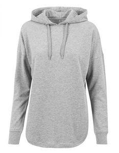 Damen Oversized Hoody / Modisch abgerundeter Saum - Farbe: Grey - Größe: XS