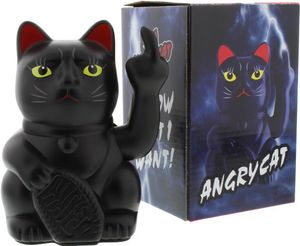 Stinkekatze Winkekatze Angry Cat Katze mit Stinkefinger schwarz