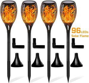 4 Stück Solar Garten Flammen Fackeln LED Bis Dawn Automatische Ein/Aus(Licht Sensor)
