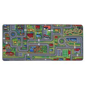 Spielteppich Kinderteppich mit Straßen Streets - 95x200cm, Pflegeleichter Kinderzimmer-Teppich für Jungen & Mädchen
