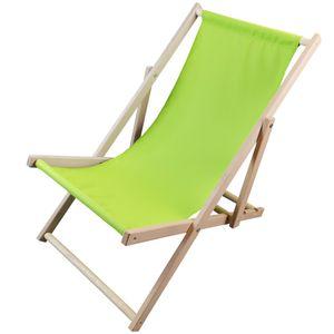 Liegestuhl Sunny Grün – Strandliege aus Holz – 3-fach verstellbare Relaxliege für Garten, Strand, Balkon oder Camping