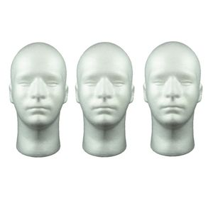 3 Stück männlicher Schaufensterpuppenkopf