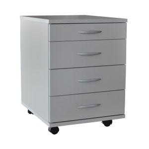 AI SEN Rollcontainer Ravenna-Silbergrau Melamin 41,5 x 50 x 57 cm, 1 kleine Schublade, 3 Schubladen, 4 Rollen, 2 mit Rollenbremse; B1007GR
