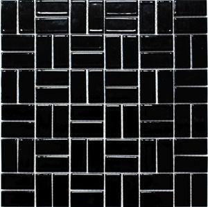 Mosaik Fliese Keramik Windmühle schwarz glänzend Fliese WC Badfliese MOS24-CWM8BG_f