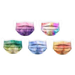 50 Stück dreischichtige Batik-Farbschutz-Einwegmaske mit schmelzgeblasenem Stoff   Zufällige Farbe