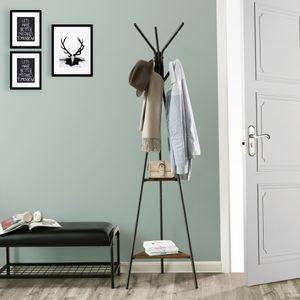Garderobenständer mit 2 Ablagen 179 x 49 cm | Kleiderständer Vintage freistehende Garderobe im in Baumform Industriedesign SONGMICS RCR16BX