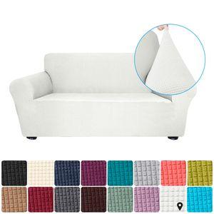 Stretch Sofa Schonbezug Elasthan Anti-Rutsch Soft Couch Sofabezug 2-Sitzer Waschbar für Wohnzimmer Kinder Haustiere (Weiß)