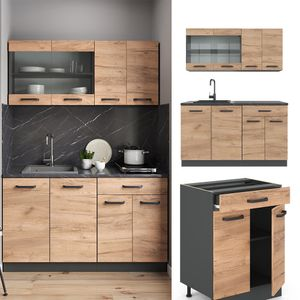 Vicco Küchenzeile R-Line Single Einbauküche 140 cm Küche Küchenblock Anthrazit Eiche