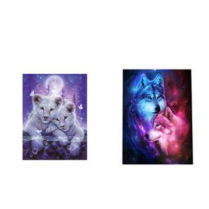 2 Sätze DIY Diamant Malerei 5d Diamond Painting Handgemachtes Klebebild Stickerei Kreuzstich Wanddekoration- Tier Muster