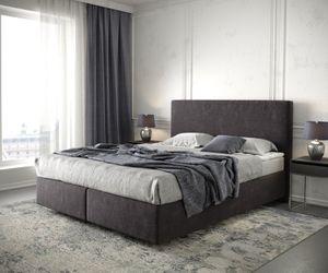 Bett Dream-Well Mikrofaser Schwarz 160x200 cm mit Matratze und Topper