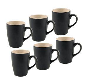 Kaffeebecher Porzellan - 6er Set - Farbe: schwarz