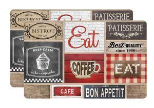 Tischset Coffee Shop Kunststoff Platzset Untersetzer Platzmatten abwaschbar , Menge:2 Stück