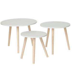 Beistelltisch 3er Set ,Kaffeetisch,skandinavisch, MDF-Oberfläche, Kiefernbeine (Runde)